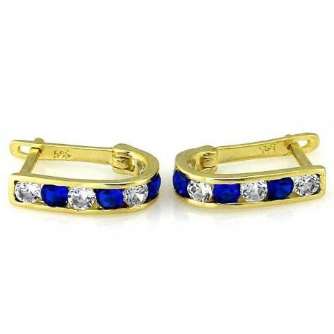 Kolczyki złote z niebieskimi cyrkoniami