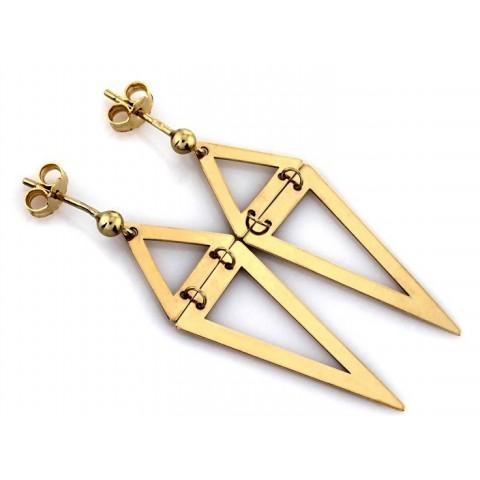 Kolczyki złote dwa trójkąty