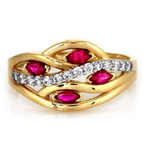 Złoty pierścionek z czerwonymi cyrkoniami