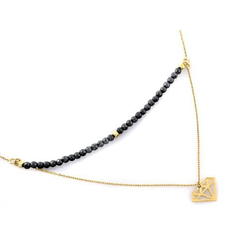 Naszyjnik złoty z hematytami