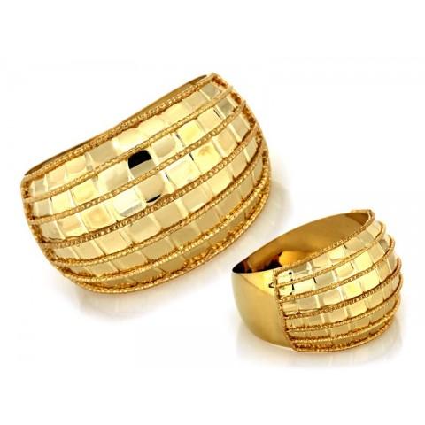 Pierścionek złoty szeroki z wzorem w kratkę