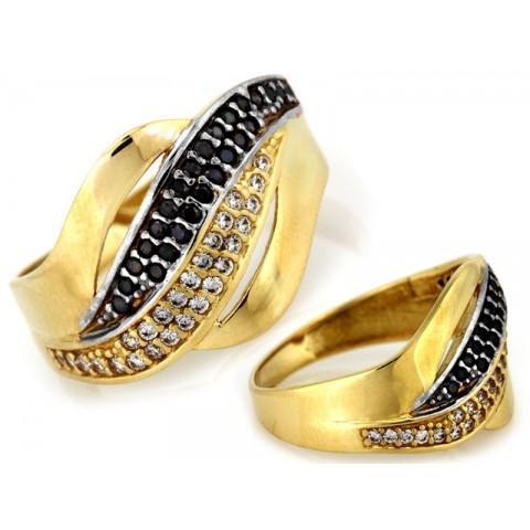 Pierścionek złoty z czarnymi cyrkoniami szeroki