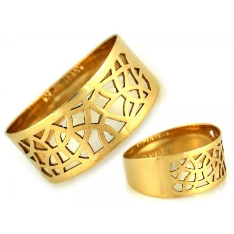 Pierścionek złoty, obrączka ażurowa szeroka