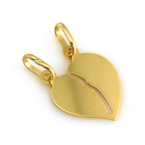 Zawieszka złota, wisiorek serce dla DWOJGA