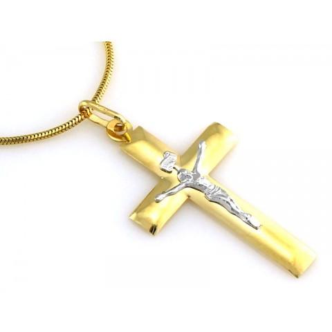 Zawieszka złota, krzyżyk z wizerunkiem