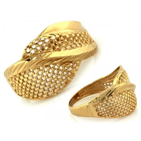 Pierścionek złoty, duży szeroki ażurowy