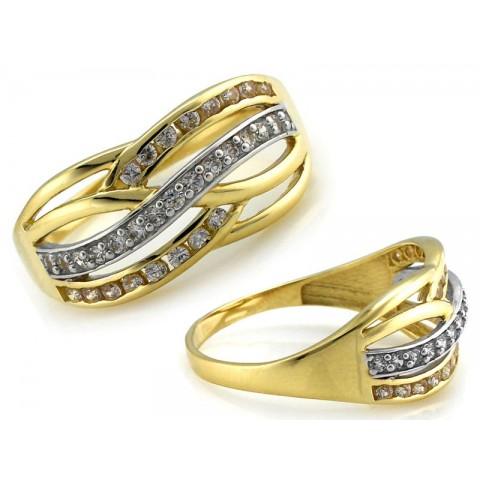 Pierścionek złoty, szeroki warkocz