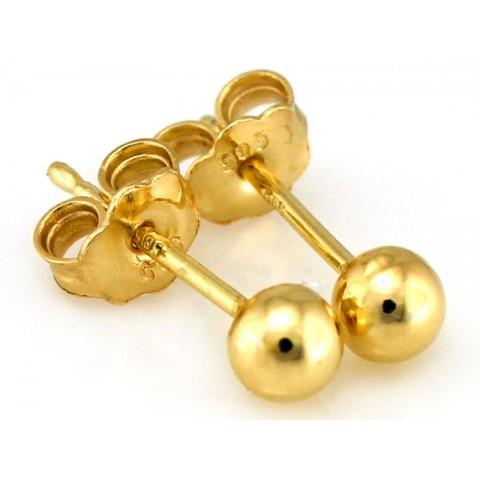 Kolczyki złote kuleczki na sztyfcie