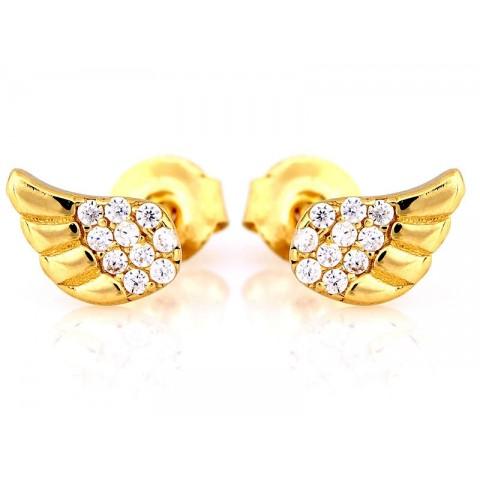Kolczyki złote skrzydła z cyrkoniami