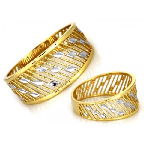 Szeroki złoty pierścionek ażurowy