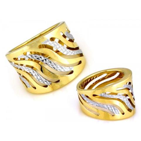 Masywny ażurowy pierścionek złoty
