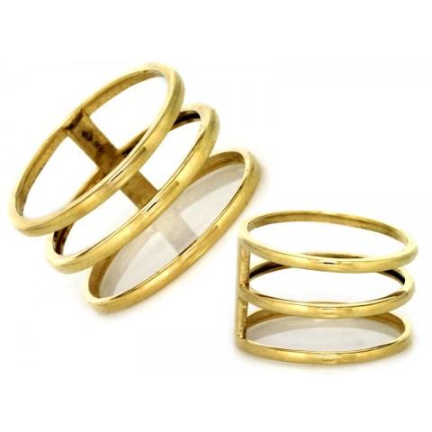Pierścionek ażurowy z dwukolorego złota