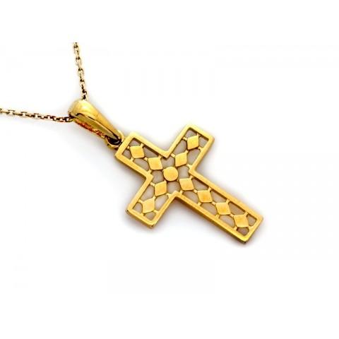 Złoty krzyżyk ażurowa zawieszka