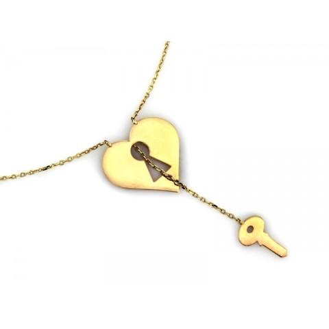 Celebrytka złota serce z kluczem