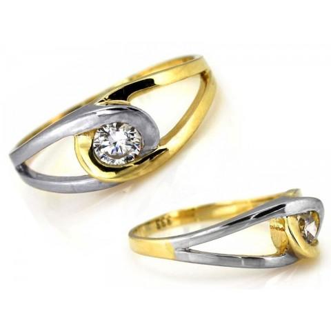Pierścionek złoty z cyrkonią dwukolorowy