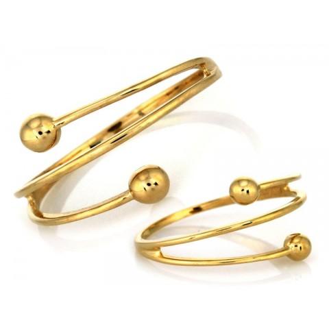 Pierścionek złoty spirala ze złotymi kulkami