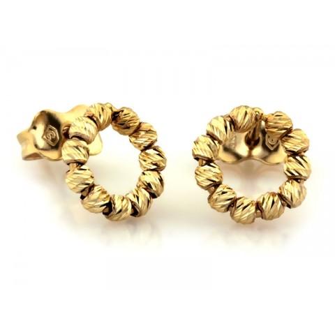 Kolczyki złote kółeczka z małych kuleczek