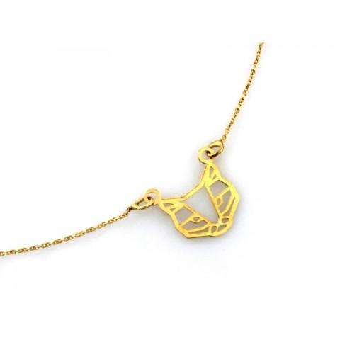 Celebrytka złota kot origami