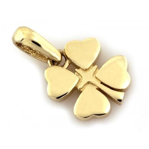 Zawieszka złota czterolistna koniczyna
