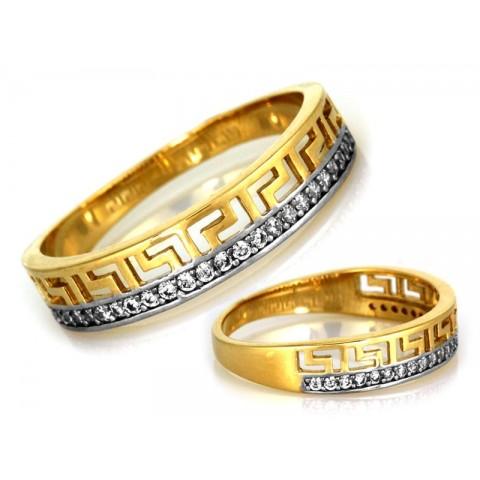 Pierścionek złoty obrączka z greckim wzorem i cyrkoniami