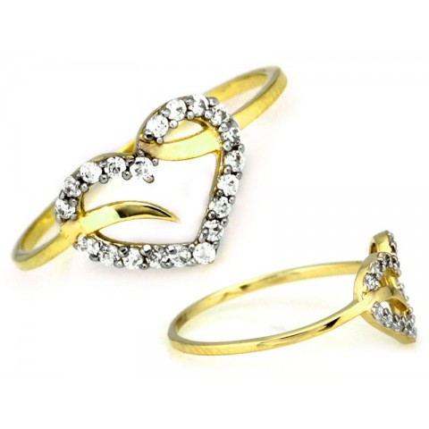 Pierścionek złoty serce wysadzane cyrkoniami
