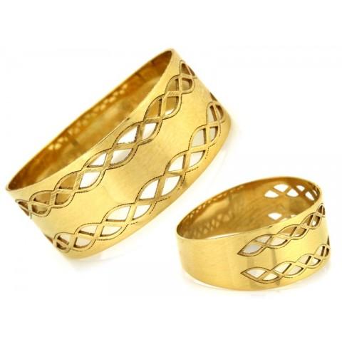 Pierścionek złoty ażurowa obrączka