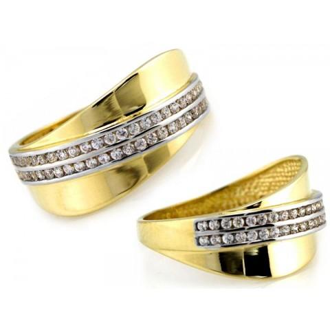 Pierścionek złoty z cyrkoniami szeroki