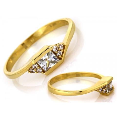 Pierścionek złoty delikatny z cyrkoniami