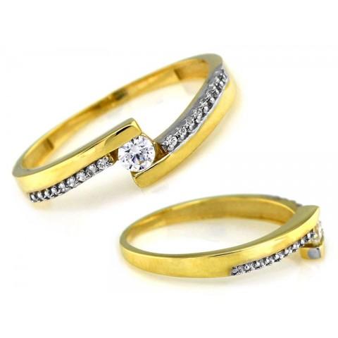 Pierścionek złoty z cyrkoniami zaręczynowy