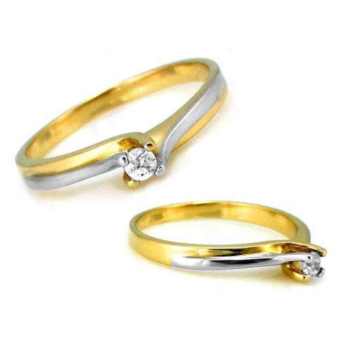 Pierścionek złoty z cyrkonią brylantowy wzór zaręczynowy