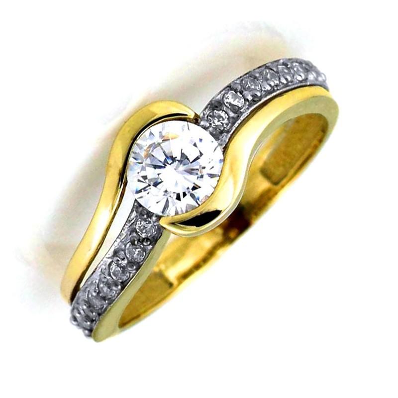 Pierścionek Zaręczynowy Z Cyrkoniami Goldovopl