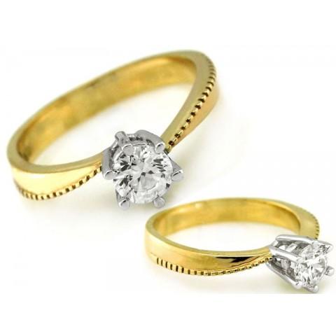 Pierścionek złoty z cyrkonią w białej oprawie zaręczynowy