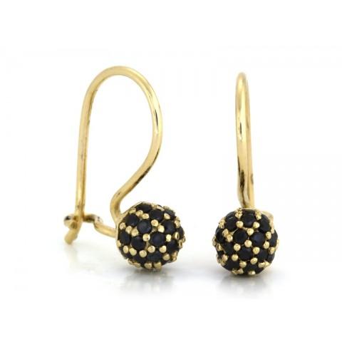 Kolczyki złote kulki z czarnymi cyrkoniami na biglu