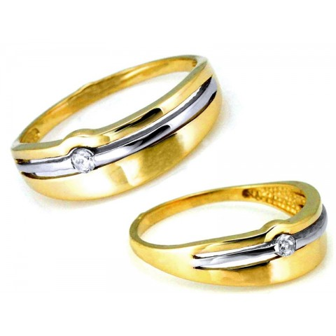 Pierścionek złoty dwukolorowy z cyrkonią