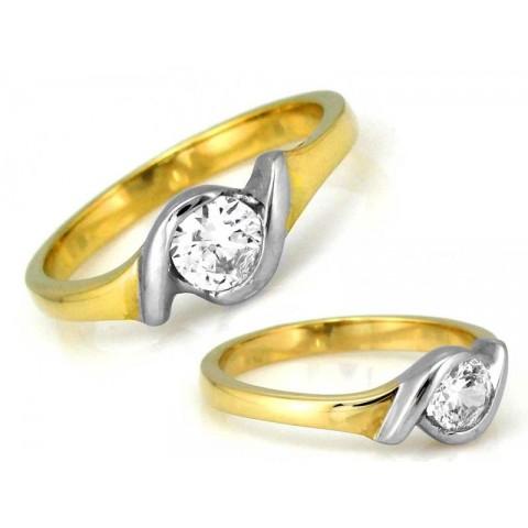 Pierścionek złoty z cyrkonią zaręczynowy