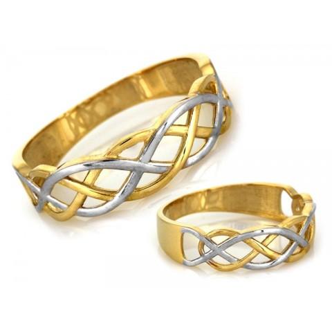 Pierścionek złoty dwukolorowy przeplatany