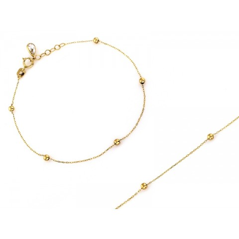 Bransoletka złota łańcuszek z małymi kuleczkami