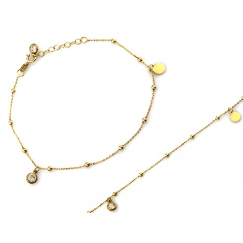 Bransoletka złota z zawieszkami i kuleczkami