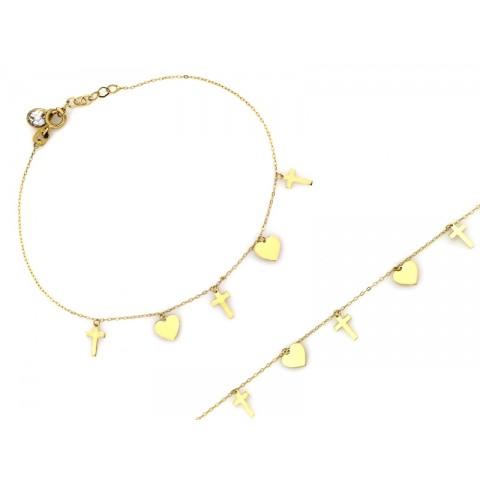 Bransoletka złota z wiszącymi sercami i krzyżykami