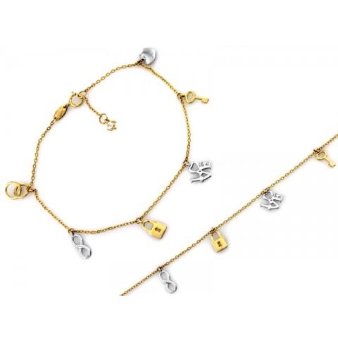 Bransoletka złota z dwukolorowymi zawieszkami