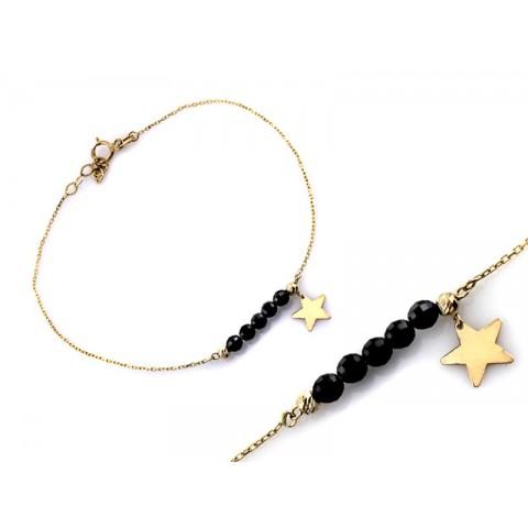 Bransoletka złota z czarnymi koralikami i wiszącą gwiazdką