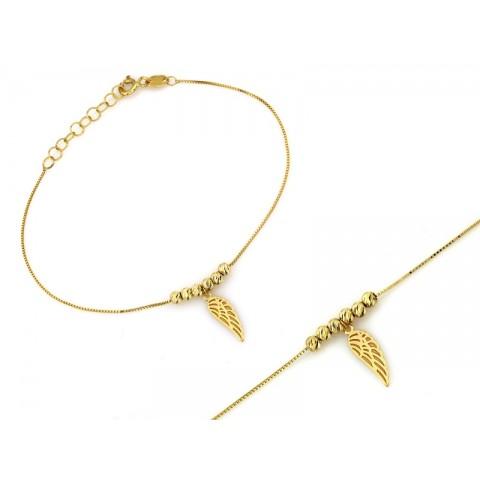 Bransoletka złota z koralikami i skrzydłem