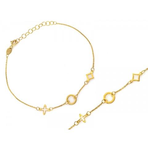 Bransoletka złota damska łańcuszek z delikatnymi ozdobami