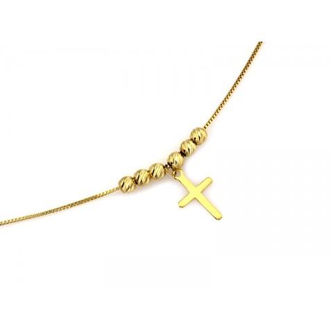 Naszyjnik złoty celebrytka z kółkiem obręczą przeplataną łańcuszkiem