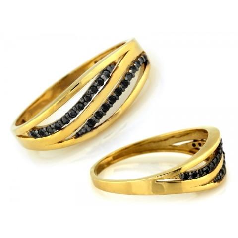 Pierścionek złoty z drobnymi czarnymi cyrkoniami