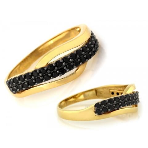 Pierścionek złoty zdobiony czarnymi cyrkoniami