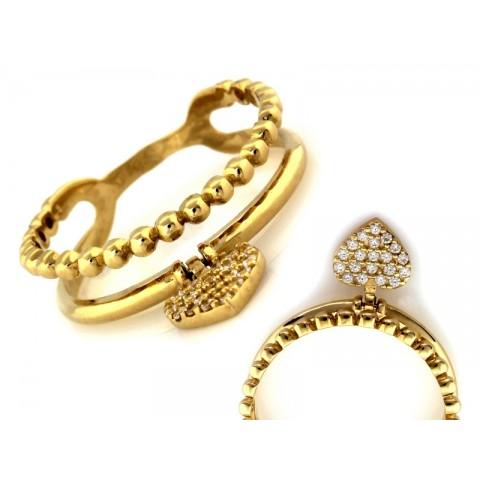 Pierścionek złoty dwukolorowa fala z cyrkoniami