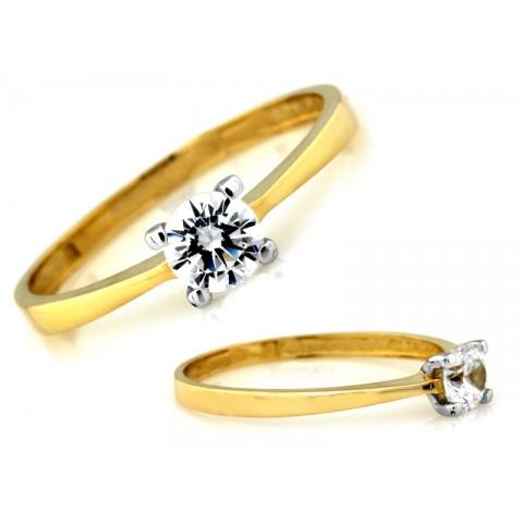 Złoty pierścionek cyrkonia w oprawie z białego złota