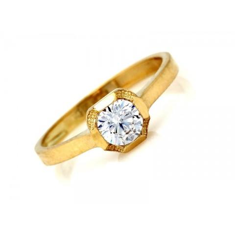 Złoty pierścionek z cyrkonią klasyczny ponadczasowy