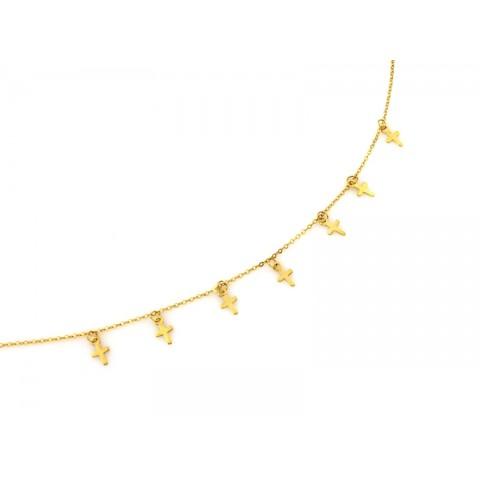 Naszyjnik złoty celebrytka z zawieszkami krzyżykami